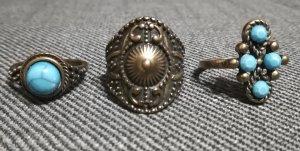 Pierścionek z ozdobnym kamieniem złoto-turkusowy