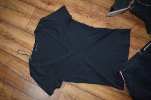 Rippen T-Shirt schwarz Gr. 38 von zara