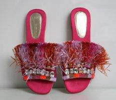 River Island Fransen Strass Hippie Ibiza Leder Pink Sandalen Sandaletten 39 neu