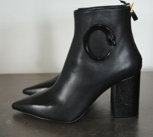 Roberto Cavalli Class Stiefeletten Spitz Ankle Boots Nappa Leder Schwarz 37 Neu
