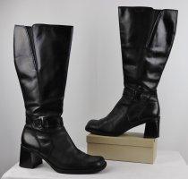 Robust Leder Stiefel Tamaris Größe 37 Schwarz Schaftstiefel Boots Eckig Blockabsatz 90er Schnalle Gothik