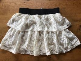 Fishbone Lace Skirt white-black