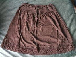 H&M Basic Falda de encaje coñac-marrón tejido mezclado