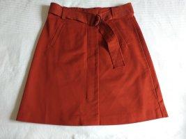 Warehouse Falda de talle alto coñac-rojo oscuro