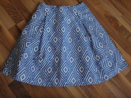 ANONYME Jupe évasée blanc-bleu acier polyester