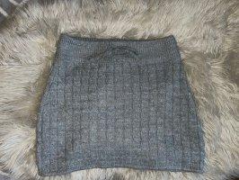 Fishbone Gonna lavorata a maglia grigio