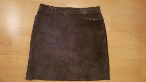 Hallhuber Falda de cuero gris