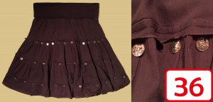 Jennifer Taylor Flounce Skirt brown-bronze-colored