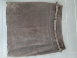 More & More Leren rok grijs-bruin