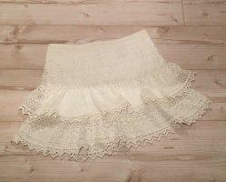 H&M Falda de encaje blanco puro-blanco