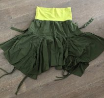 Asymmetry Skirt khaki-meadow green cotton