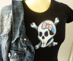 Rockabilly Shirt schwarz mit Skull und rosa Schleife 36 38