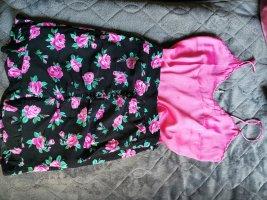 Spódnica z wysokim stanem czarny-różowy