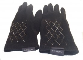 Roeckl Gloves black-silver-colored wool