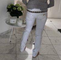 Röhren Jeans mit beiger Strass  Verzierung