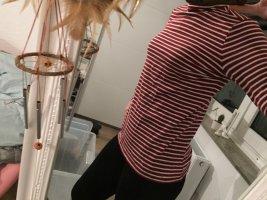 Esprit Jersey de cuello alto blanco-rojo