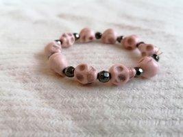 Rosa Armband, Totenschädel rosa, Armband, Stretch, Perlen