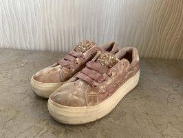 Rosa Samt Sneaker von Graceland Deichmann Gr. 38