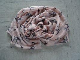 Rosa Schlauchschal mit Schwalben