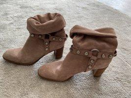 Rosa Velourleder Boots