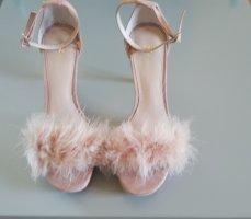 rosane High heels mit Plüsch vorne dran