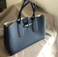 Longchamp Handbag slate-gray-silver-colored leather