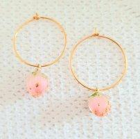 Rosenblüten Ohrringe, Creolen, 18kt vergoldet