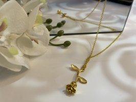 Rosenkette Beauty and the Beast Disney Gold Kette Rose Neu Frauen