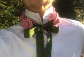 Szydełkowany szalik różowy-jasnozielony