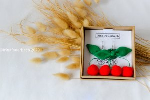 Irina Pendientes colgante rojo-verde bosque