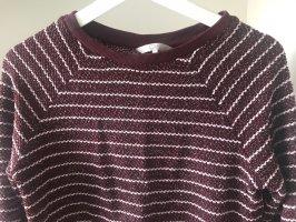 Rot weiß mit Glitzer gestreifter Pullover
