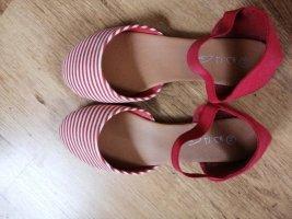 Rot weiße Slipper Ballerinas halboffen