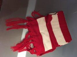 Rot-weißer Schal mit Fransen