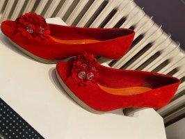Sandały na grubym obcasie ciemnoczerwony