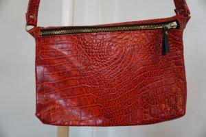Rote Croco Leder Abendtasche I Crossbody Bag    ANZEIGE MERKEN