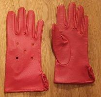 Rękawiczki z imitacji skóry czerwony-czerwony neonowy