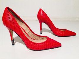 Rote Guess Pumps - rotes Leder - perforiert  - Gr.37