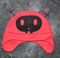 Chapeau en tissu rouge-noir