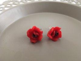 Rote Ohrringe Blumen Rosenblüte