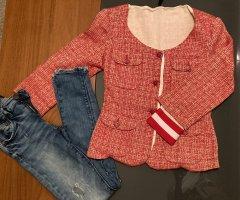 Blazer en tweed blanc-rouge