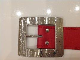 Roter Ledergürtel Hüftgürtel Gr.95 mit einer massiven Schnalle