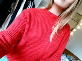 Bershka Wool Sweater red