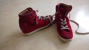 Paul Green Laarsjes met sleehak rood Leer