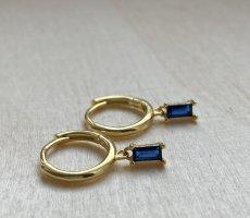 Silver Ear Hoops gold-colored-dark blue