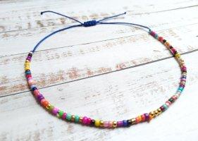 Royalblaues Makramee Fußkettchen Fußkette mit bunten und goldenen Perlen größenverstellbar und NEU