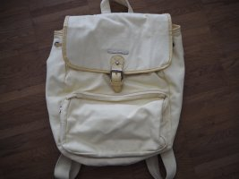 French Connection School Backpack pale yellow cotton