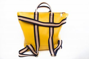 Börse in Pelle Laptop Backpack pale yellow leather