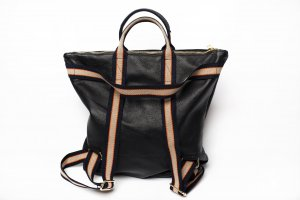 Börse in Pelle Laptop Backpack black leather