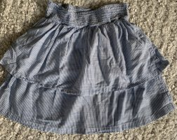 H&M Lniana spódnica biały-stalowy niebieski
