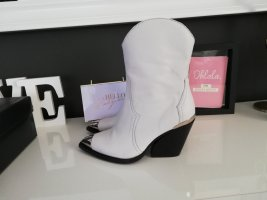 Sacha Western Booties white-black leather